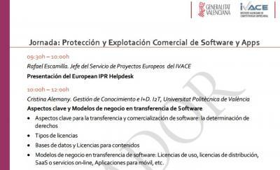 Programa de la Jornada: Protección y Explotación Comercial de Software y Apps